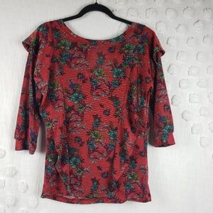 Free People Red Floral Top 3/4 sleeve sz Medium